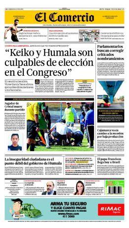 """¡Buenos días! Hoy en #nuestraportada: """"#Keiko y #Humala son culpables de elección en el Congreso"""", dijo el constitucionalista Luis García Toma sobre la #repartija."""