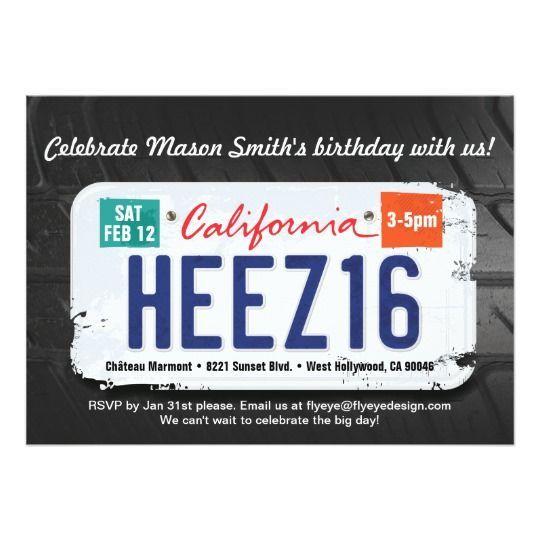 Boys 16th Birthday California License Invitation