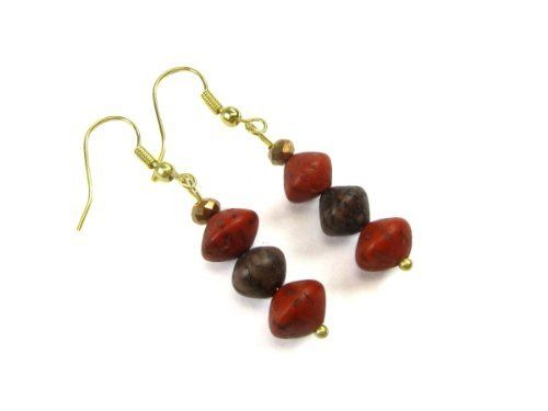 """Orange Red and Khaki Salwag Wood Tropical Dangle Earrings Creative Ventures Jewelry. $8.99. Wood from the tropical wood in the Philippines. Gold plated fishhook dangle earwires. Earrings are 1 """" long by 1/4 """" wide. Wear daily and for casual occasions. Earrings made with orange red dye and khaki dye salwag bicone beads"""