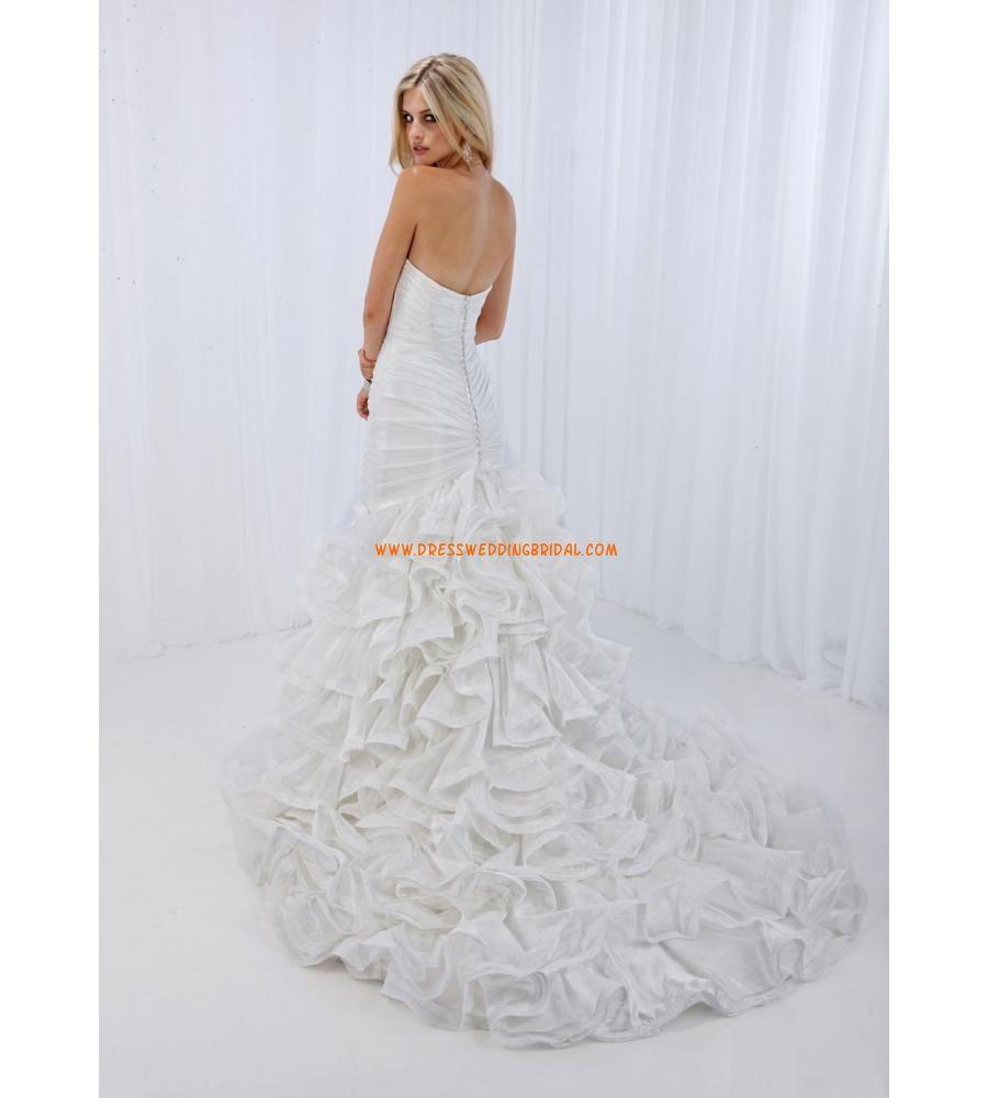 Sweetheart mermaid ruched ruffles organza stylist wedding gowns