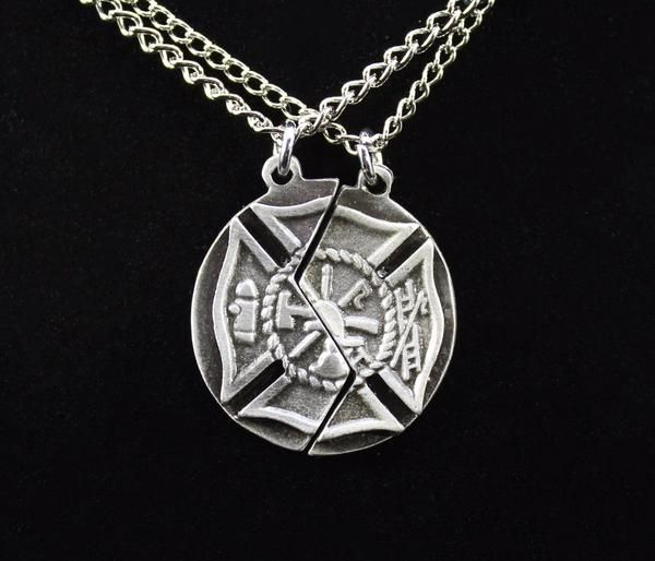 Mizpah Prayer Maltese Cross Necklace Set Firefighter Jewelry Necklace Set Firefighter Necklace
