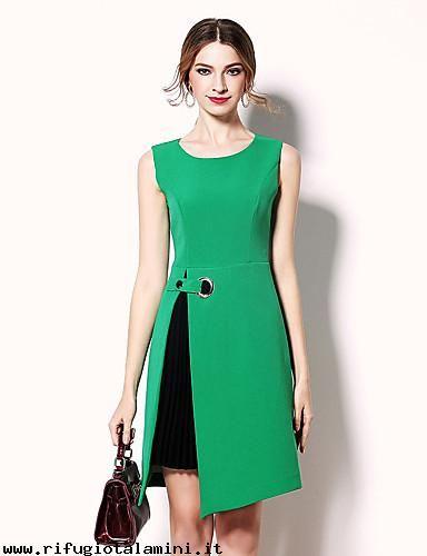 Donna-Abbigliamento-Abito-Linea-A-Vestito-Da-donna-Formali-Da-partycocktail-Romantico-Tinta-unita-Rotonda-Al-ginocchio-Senza-maniche-Rosso-Verde-Cotone-PrimaveraA-FtmTlxAy.jpg (384×500)