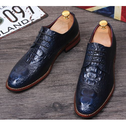a98f5d6da23d Men Navy Blue Crocodile Leather Wedding Prom Dress Oxfords Shoes SKU-1100067