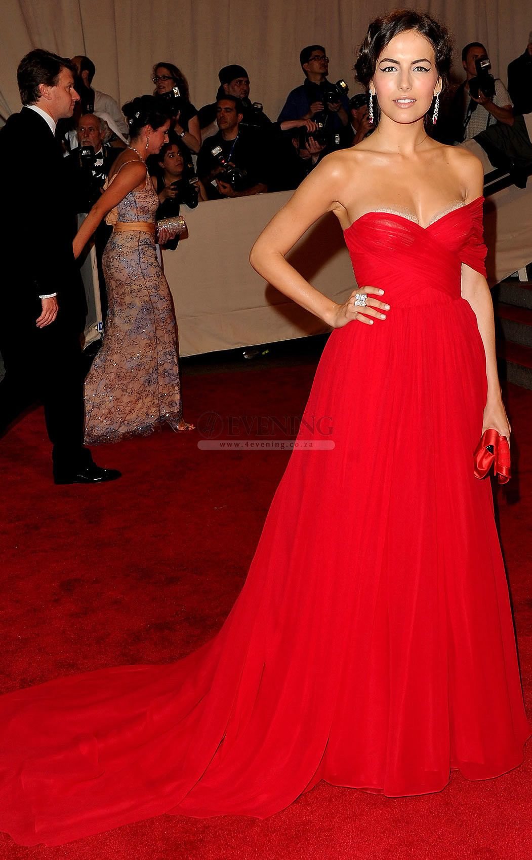 Camilla belle met ball red chiffon celebrity evening dresscde