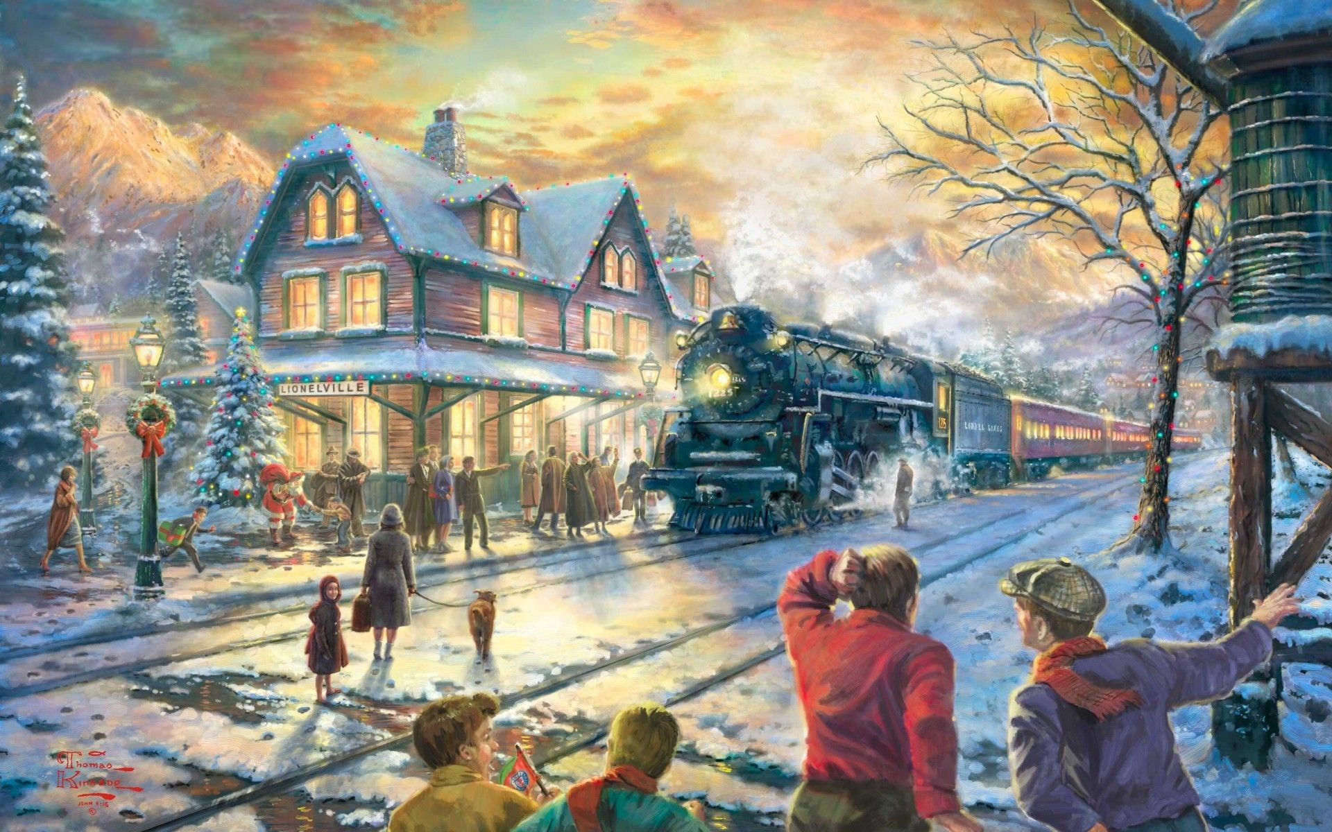People painting houses - All Aboard For Christmas Thomas Kinkade Holidays Christmas Winter Snow Seasons Trains Tracks People Houses Rustic