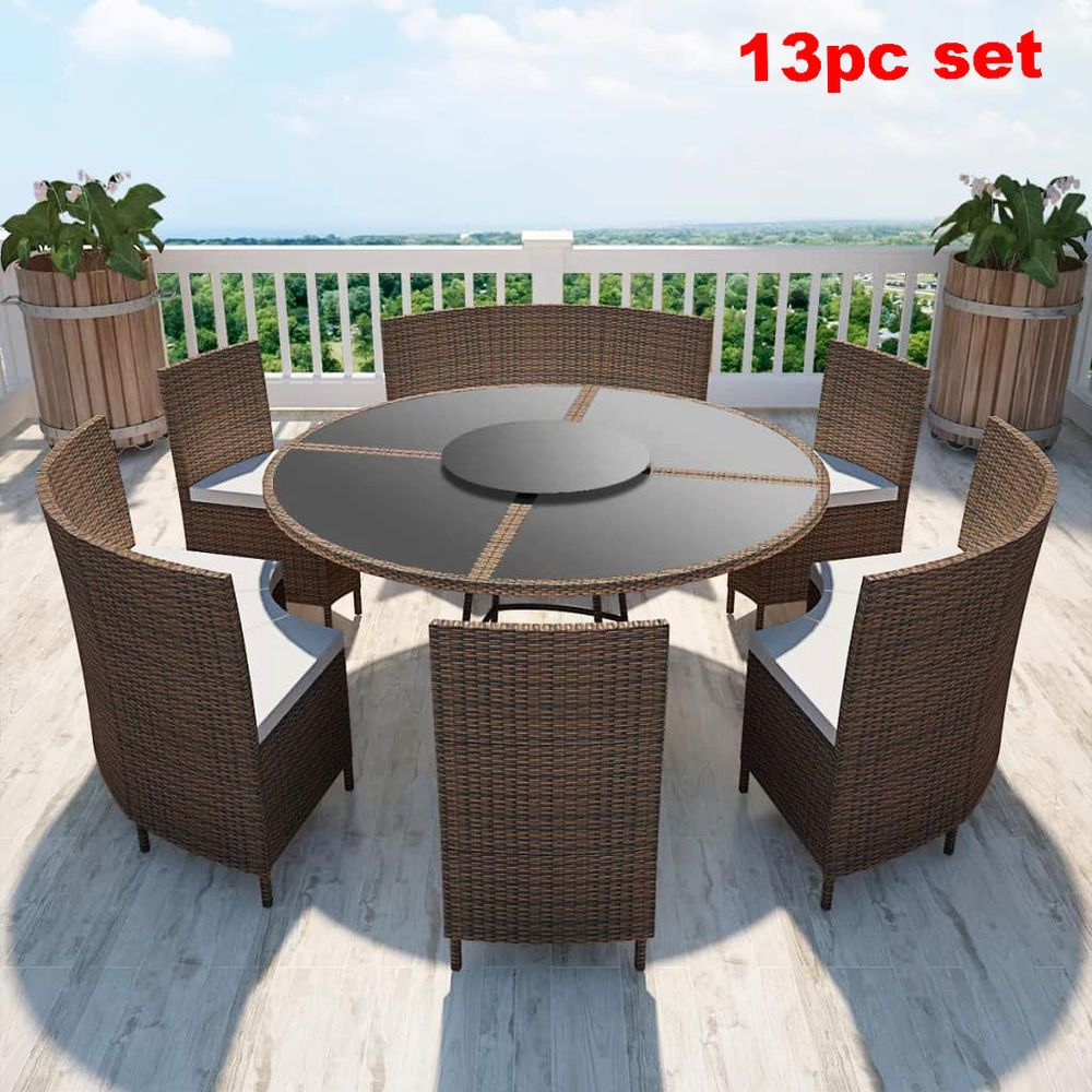 Round Dining Set 12 Seater Rattan Patio Outdoor Table Bench Chairs