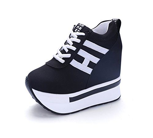 YC WELL Womens Increased Within The Higher Flat Shoes Casual High Heels  Wedge Platform Sneaker Flat shoes Lace Up Wedges Canvas Black)