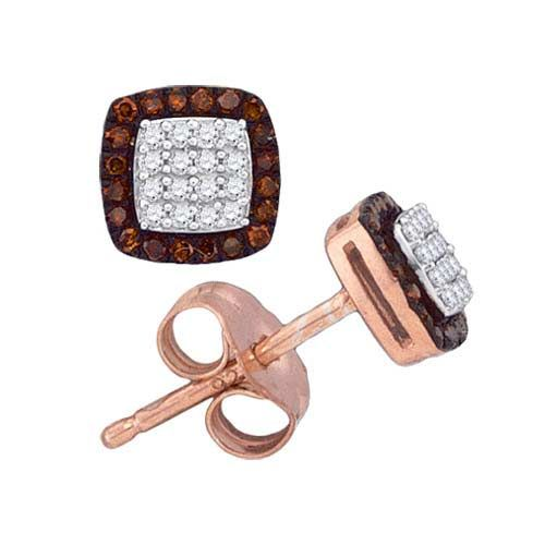 Champange And White Round Diamonds Stud Earrings (0.20ct. tw)- 404100573