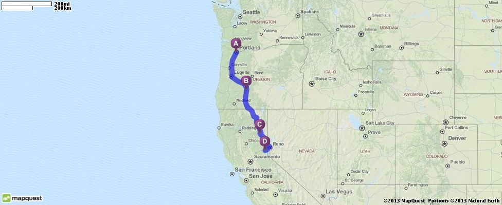Driving Directions From Portland Oregon To Truckee California - Mapquest california