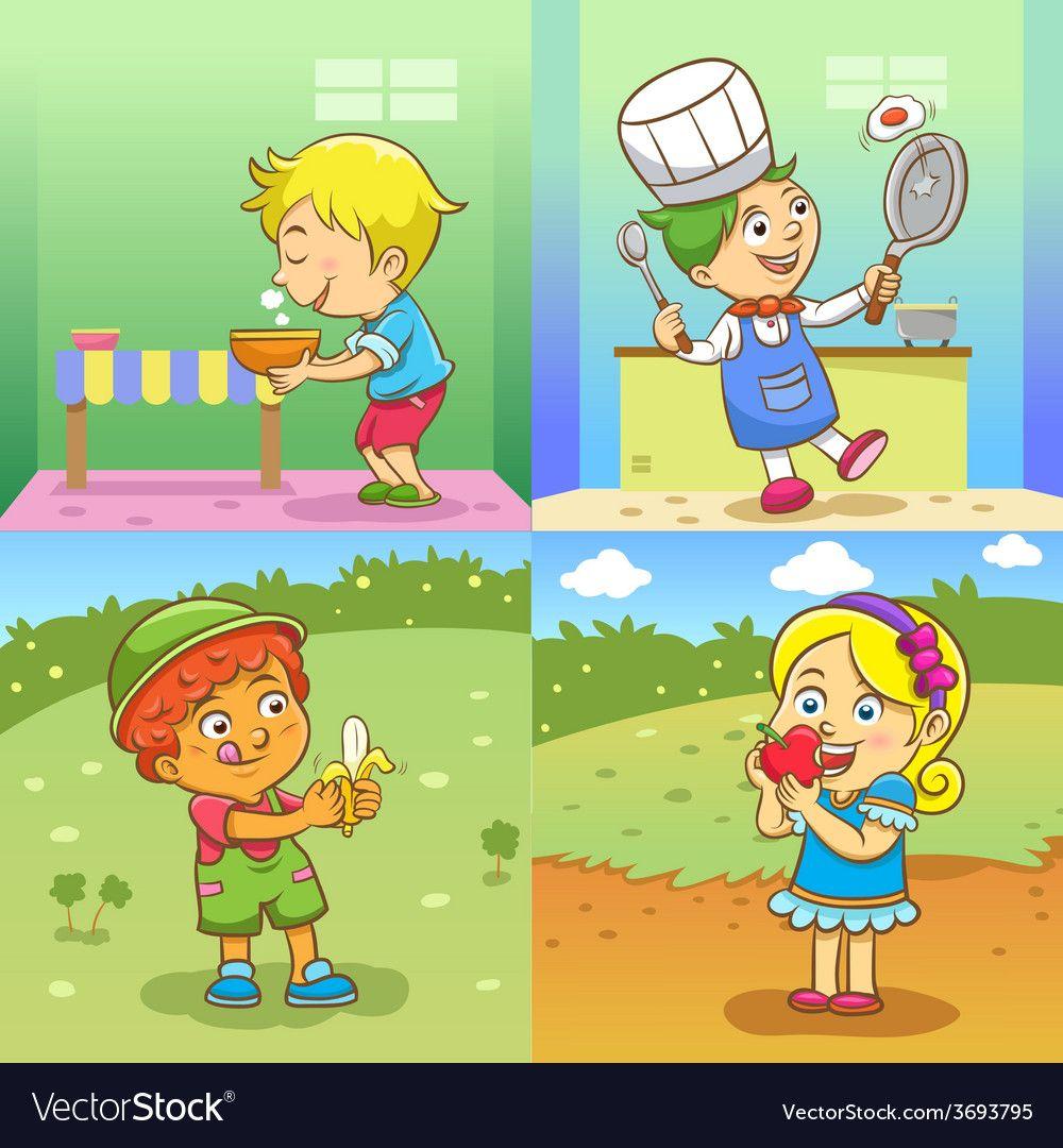 Set of child activities cartoon vector image on