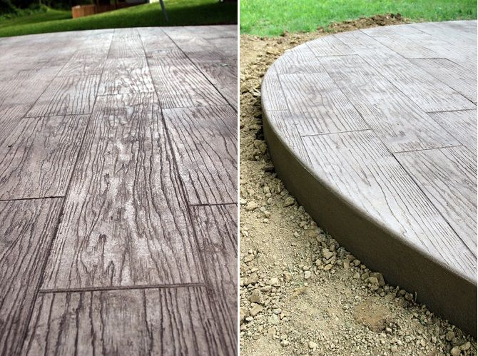 DIY Stamped Concrete Wood   Around The Fire Pit?