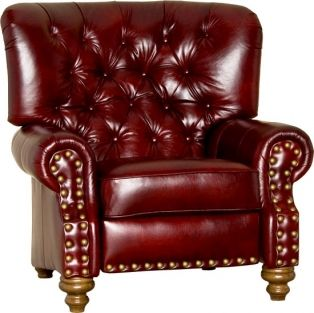 Fresco Red Push Back Recliner from Southern Creek Rustic Furnishings. A deep red leather and big seat back make this recliner extremely comfortable.