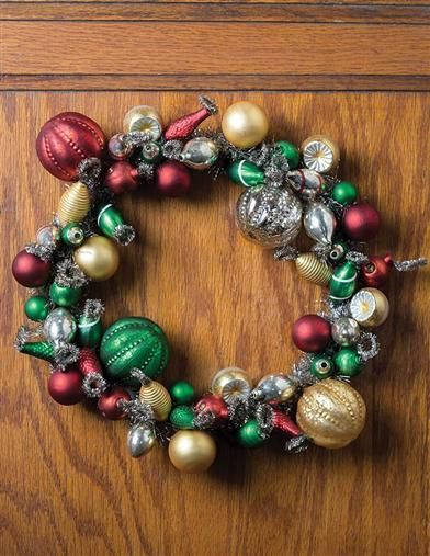 Jewel Lustrous Baubles Wreath Opalescent blown glass from molds