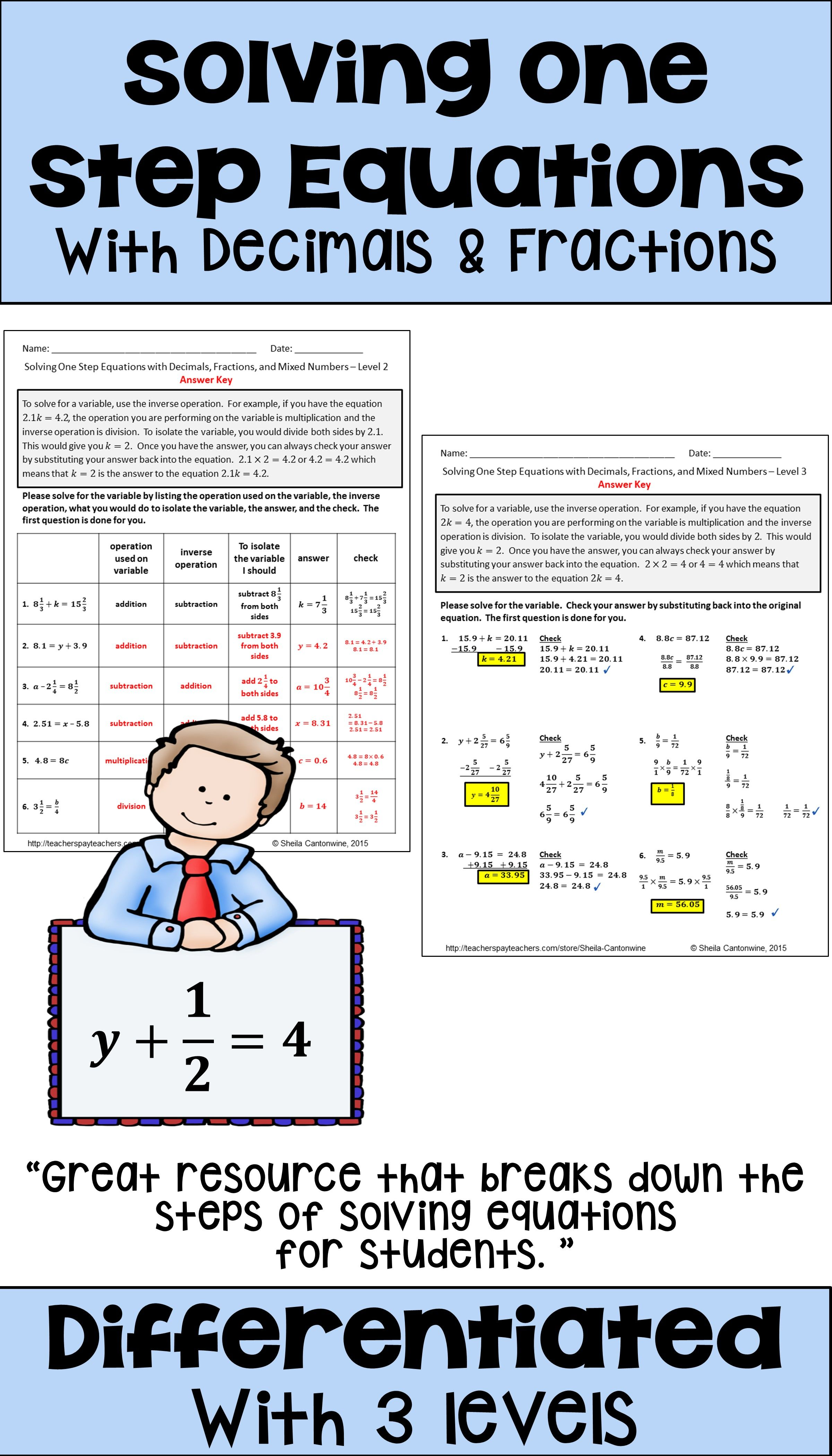 Solving 1 Step Equations With Decimals And Fractions One Step Equations Fractions Equations
