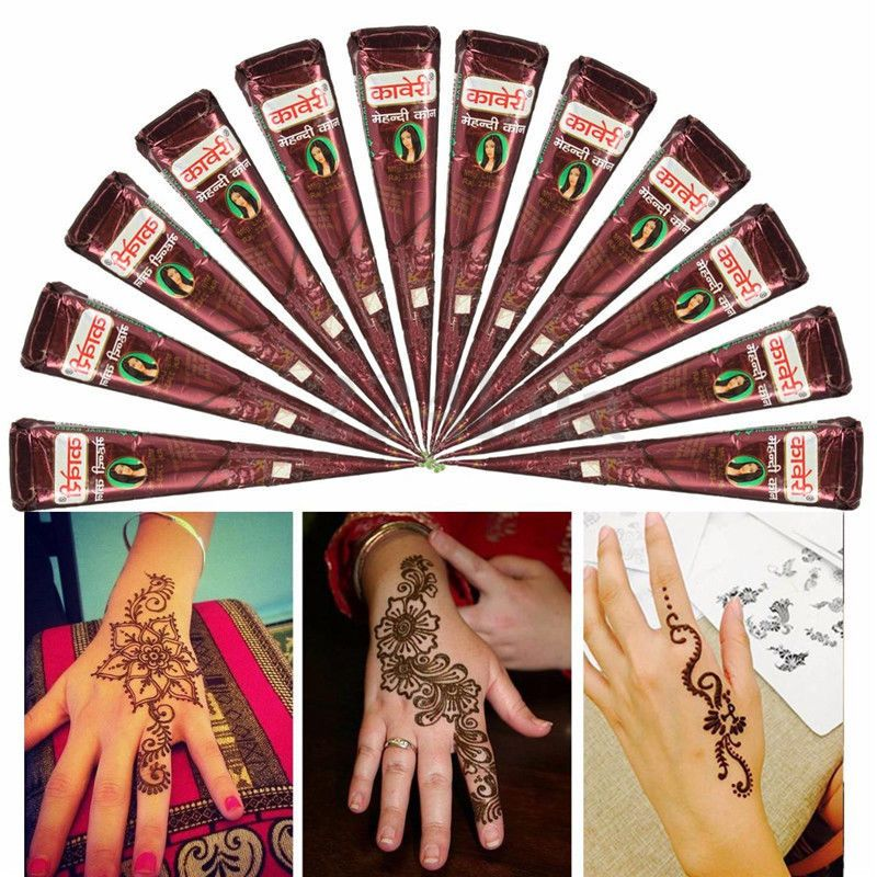 84c1d400b0d34 Natural Herbal Henna Cones Temporary Tattoo Kit Body Art Paint Mehandi Ink  Brown #UnbrandedGeneric