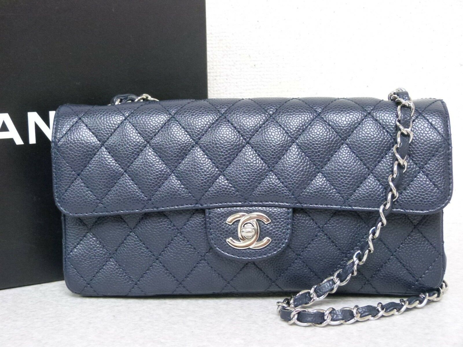 ec0335916771 #FORSALE ra5390 Auth CHANEL Navy Quilted Caviar Skin CC Turn Lock Chain Shoulder  Bag - $650