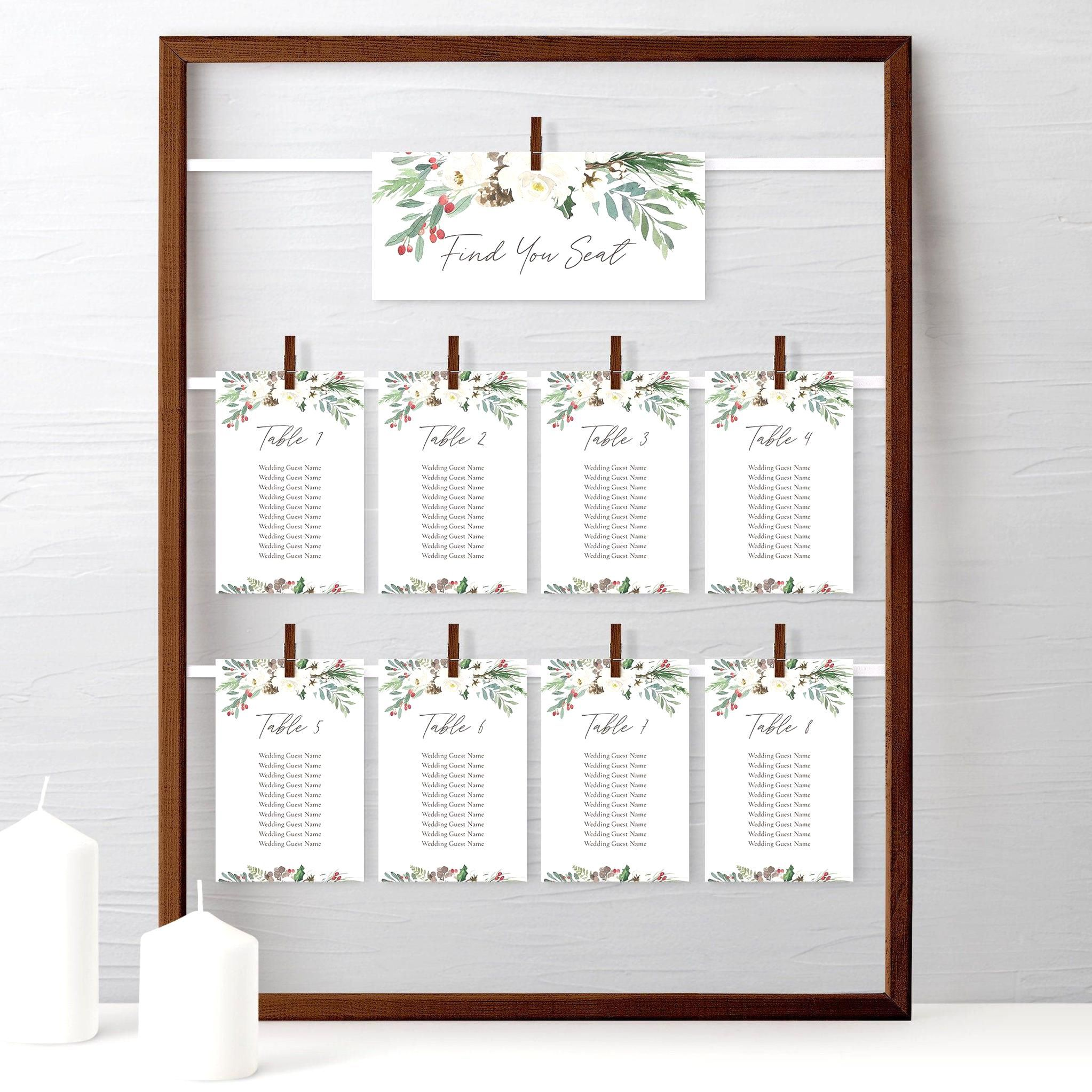 Christmas Wedding Seating Chart Cards Editable Template