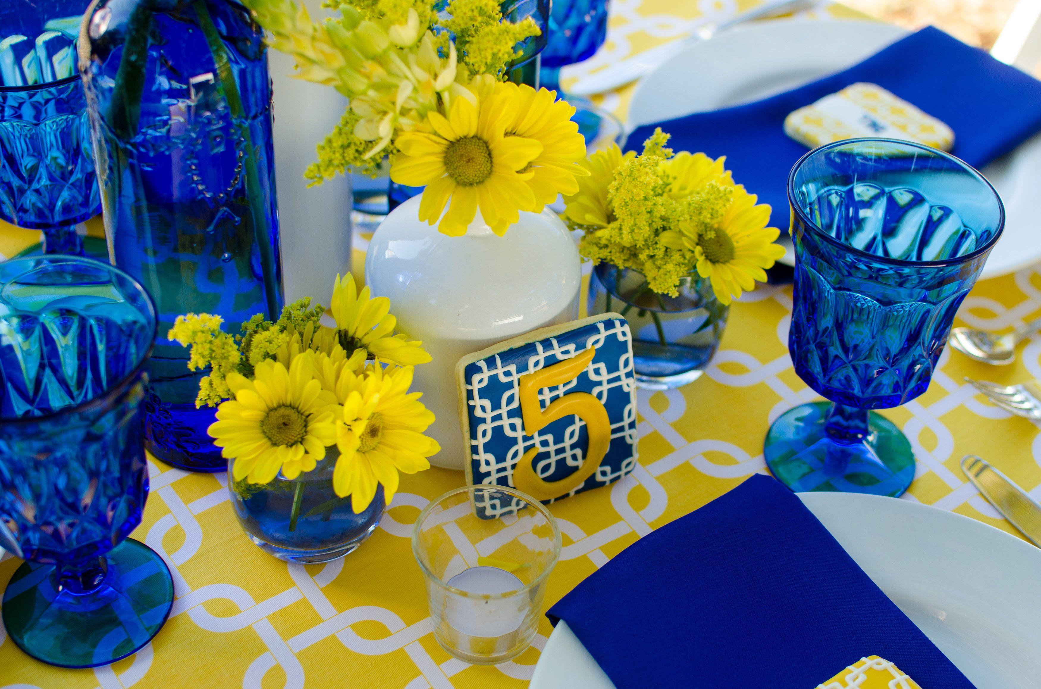 Cobalt Blue And Yellow Tablescape Pensacola Wedding Planner Fleur De Lis Event Consulting Yellow Wedding Decorations Bridal Shower Tablescape Blue Table Settings