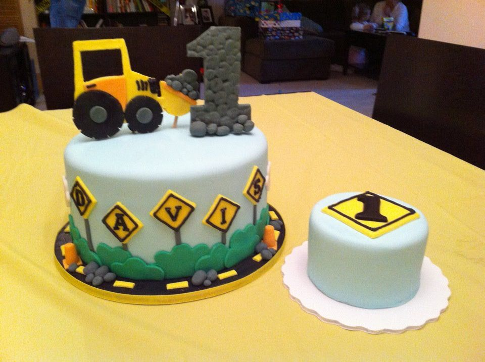 construction themed 1st birthday cake