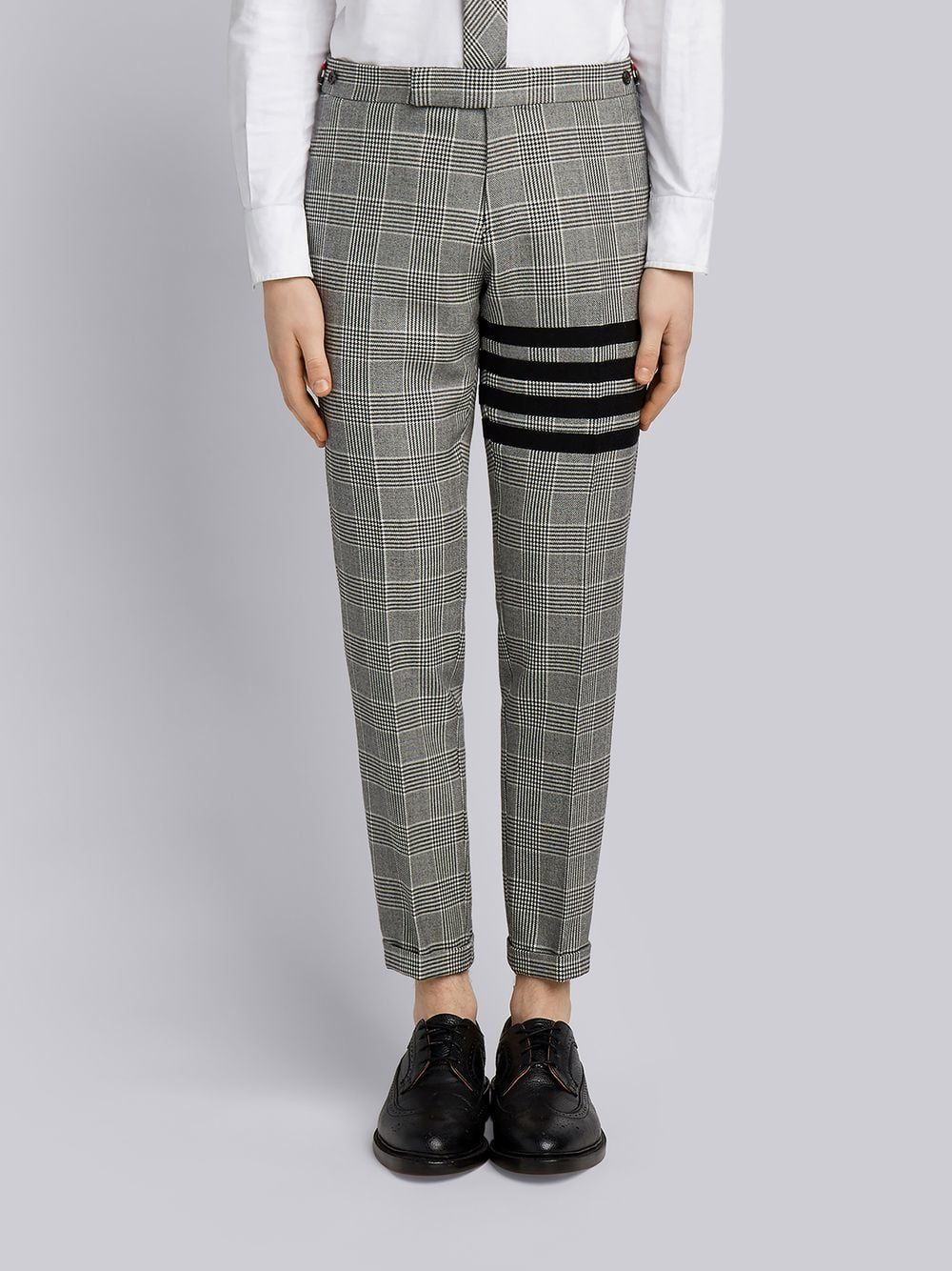 7d3e8f709a29 THOM BROWNE THOM BROWNE 4-BAR PRINCE OF WALES HEAVY WOOL TROUSER.   thombrowne  cloth