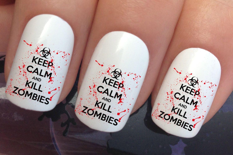 Halloween nail art set #664 x 12 keep calm zombies water transfer ...