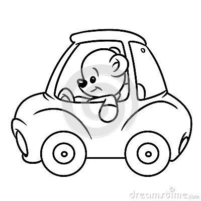 Bear baby car coloring pages illustration minimalism