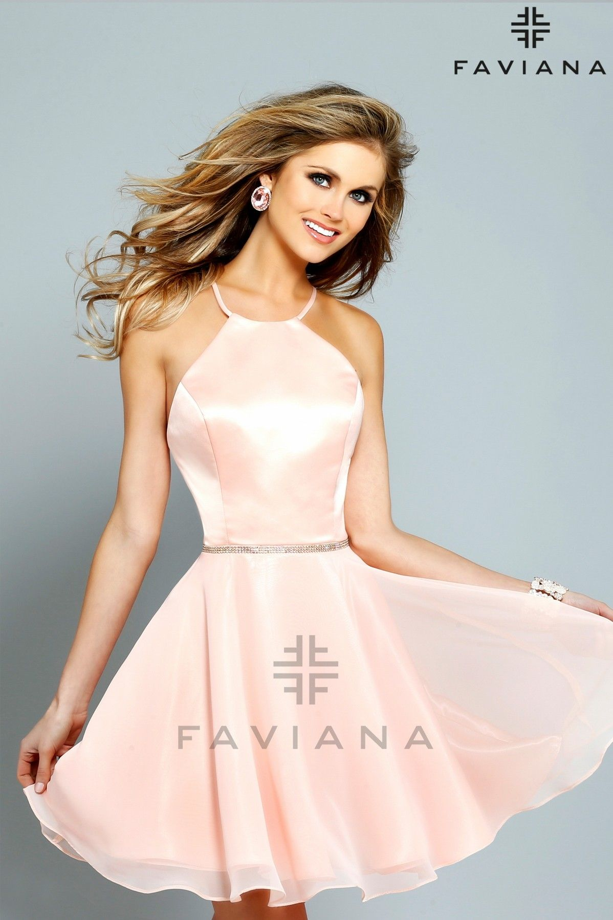 Short prom dress with heavy satin halter bodice and chiffon skirt