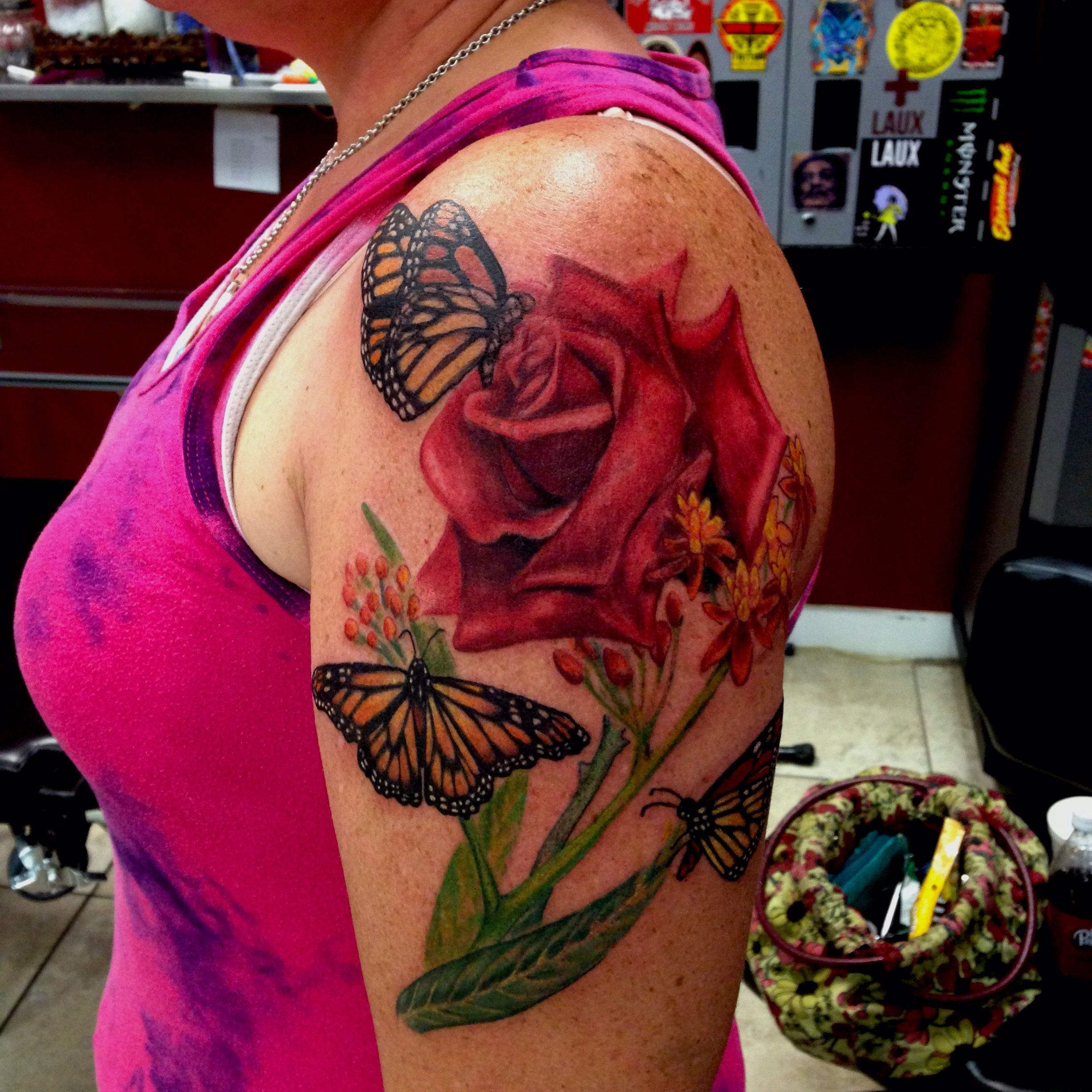 Rose and butterfly tattoo by Mike Ashworth (With images