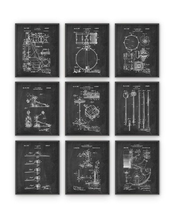 Drum Patent Prints Set Of 9 Drummer Musician Wall Decor Music Room Decor Music Room Art Drum Room