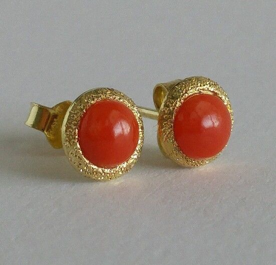 43cee3be7 Natural italian Red Coral Earring Authentic, cabochon coral yellow gold 18k  | eBay