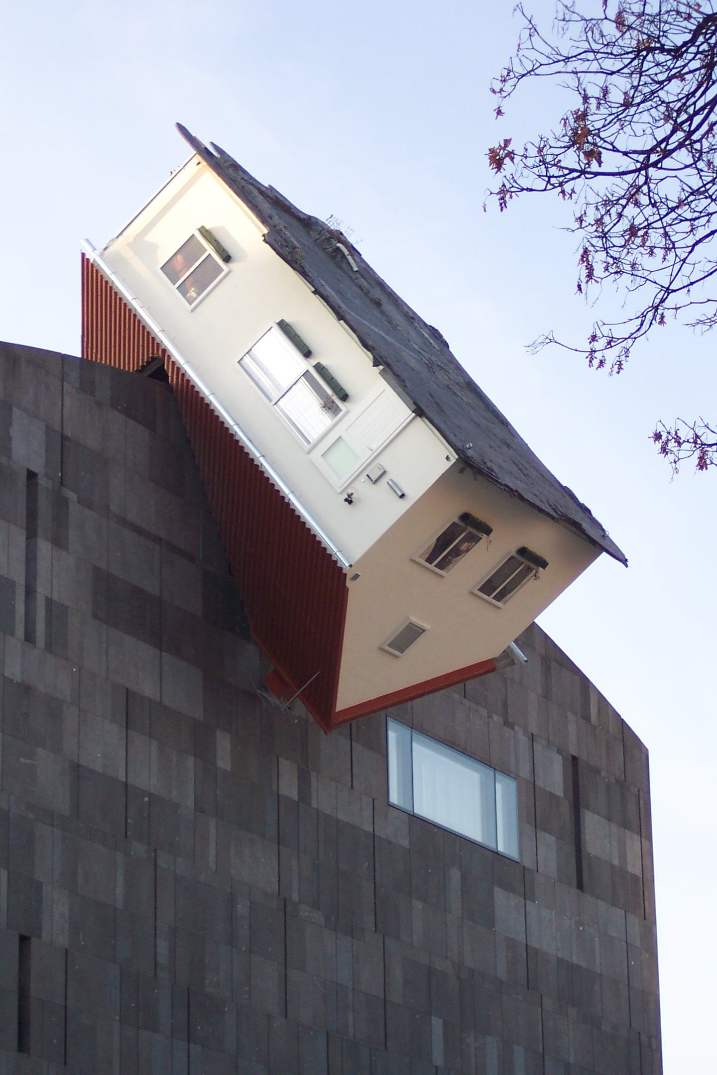 Erwin Wurm Austria B 1954 House Attack 2006 House At The Upper External Side Of The Building Of Museum Moderner Kun Building Unique Buildings Crazy Houses