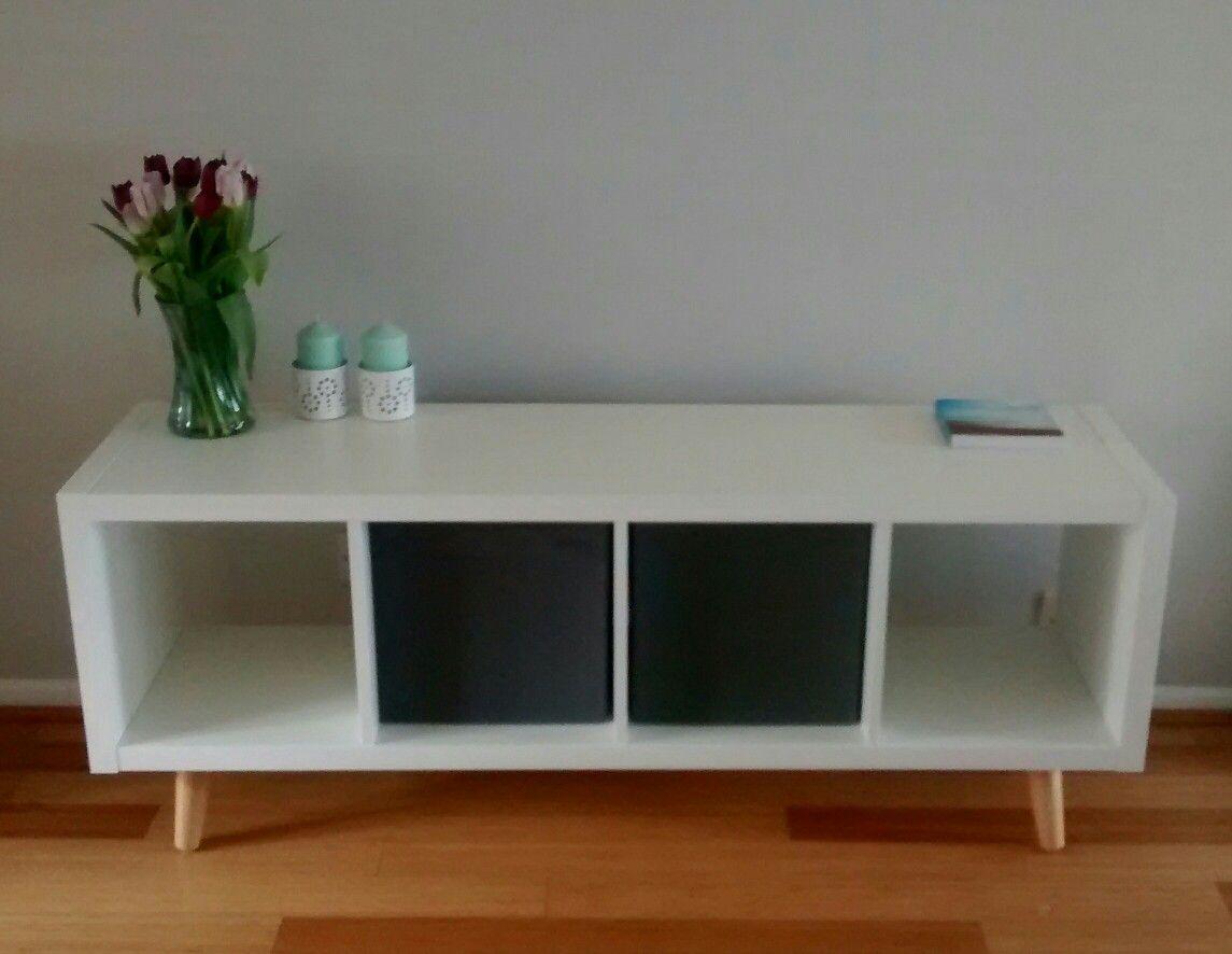 Ikea Kallax Hack Added Wooden Legs To The 4 X 1 Kallax Shelving Unit To Make A Living Room Sideboard Kallax Ikea Home Living Room Aesthetic Room Decor