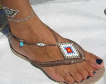 fbc7ee92a754fe SALE Multi Colored   Silver Decorated Bohemian Handmade Flip Flop Sandals  Beaded Flat Thongs based on Rose Gold Havaianas - 100% Handmade.