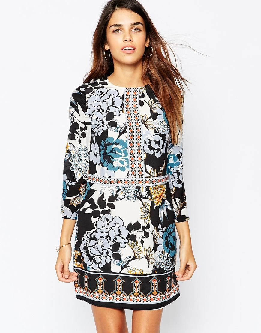 Image 1 of Warehouse Real Silk Floral Printed Shift Dress