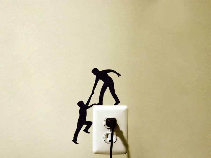 Climbing Light Switch Velvet Sticker - Helping Hands Wall Decal ...
