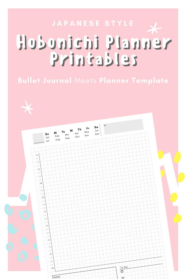 printable planner template  hobonichi japanese planner