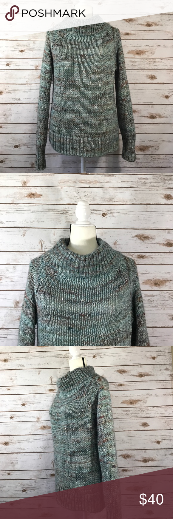 Anthropologie Moth Cowl Neck Chunky Knit Sweater | Chunky cable ...