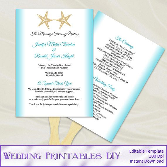 Diy Starfish Themed Wedding Program Fans Aqua Blue Gold