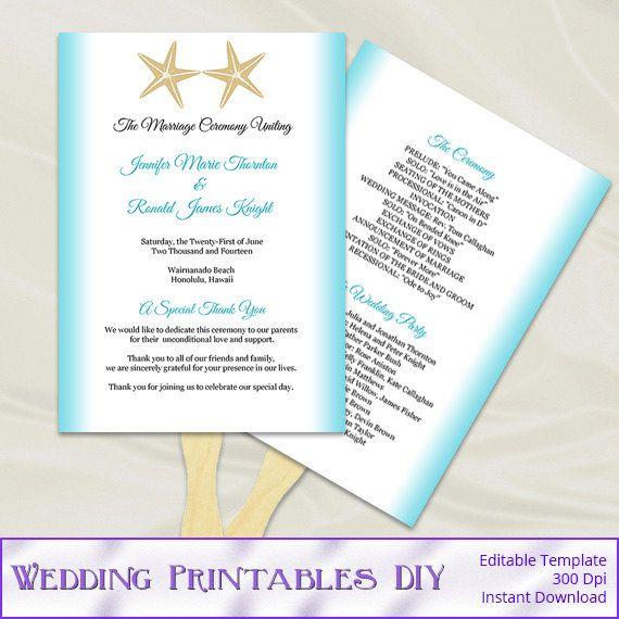 Beach Wedding Program Fans Template Diy Aqua Blue Gold Starfish Themed Tropical Destination Fan Programs Editable Text Instant Download P41