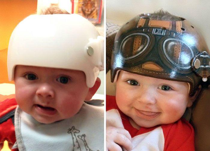 Artist Transforms Babies Head Shaping Helmets Into Beautiful Art Baby Helmet Baby Helmet Design Baby Helmet Design Boys
