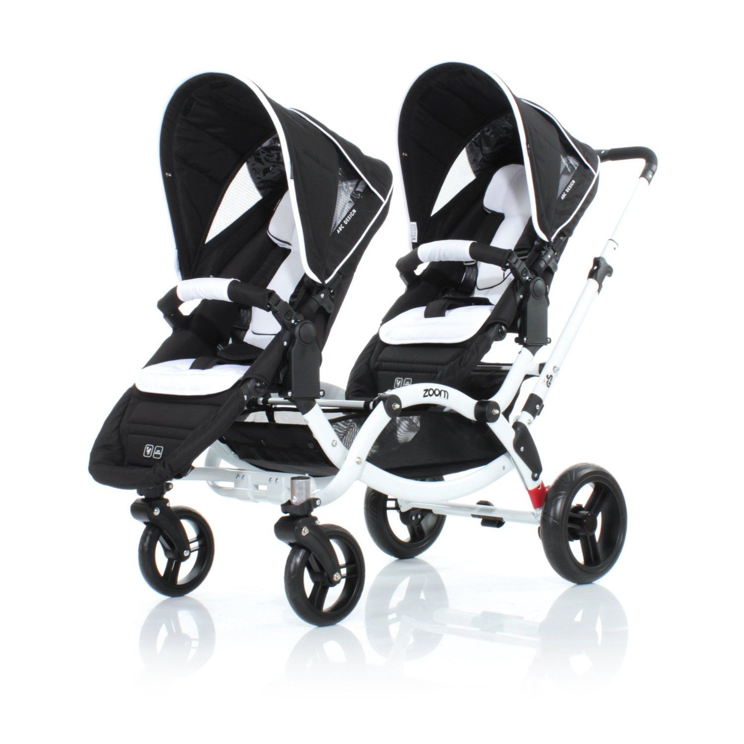 Twin Stroller In Dubai Abc Design Zoom Tandem Stroller White Black Chassis
