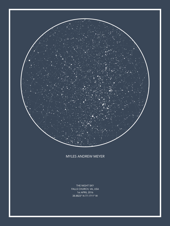 Night Sky Star Map Custom Star Map Editor | Star map, Map, Constellations