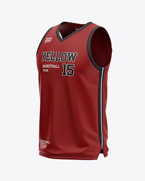 Download Mens V-Neck Basketball Jersey Mockup Front Half Side View ...