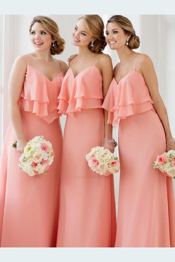 Custom Made Soft Bridesmaid Dresses Plus Size V Neck Bridesmaid Dresses Custom Bri Peach Bridesmaid Dresses Coral Bridesmaid Dresses Simple Bridesmaid Dresses