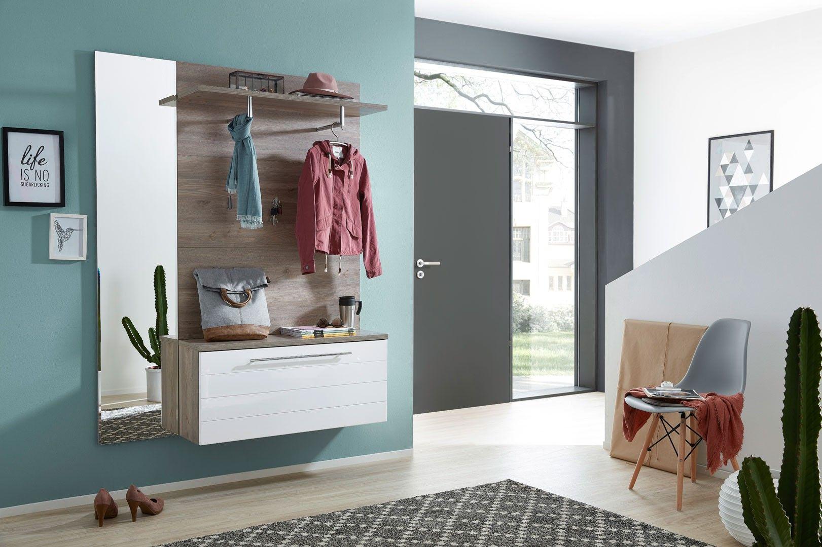 meuble d'entrée contemporain suspendu coloris chêne/blanc callie