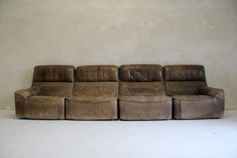 Vintage Patchwork Leather Sofa