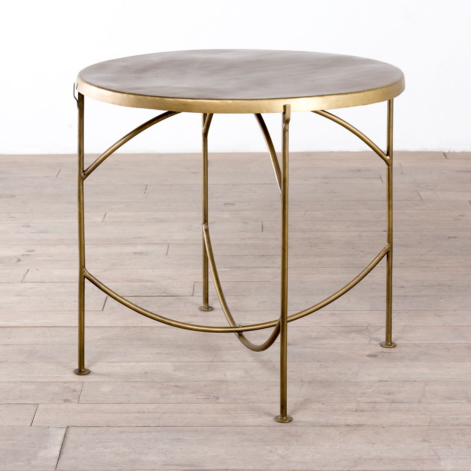 "CJ Sparks $550 32"" Reclaimed Iron KD Bistro Table Brass"