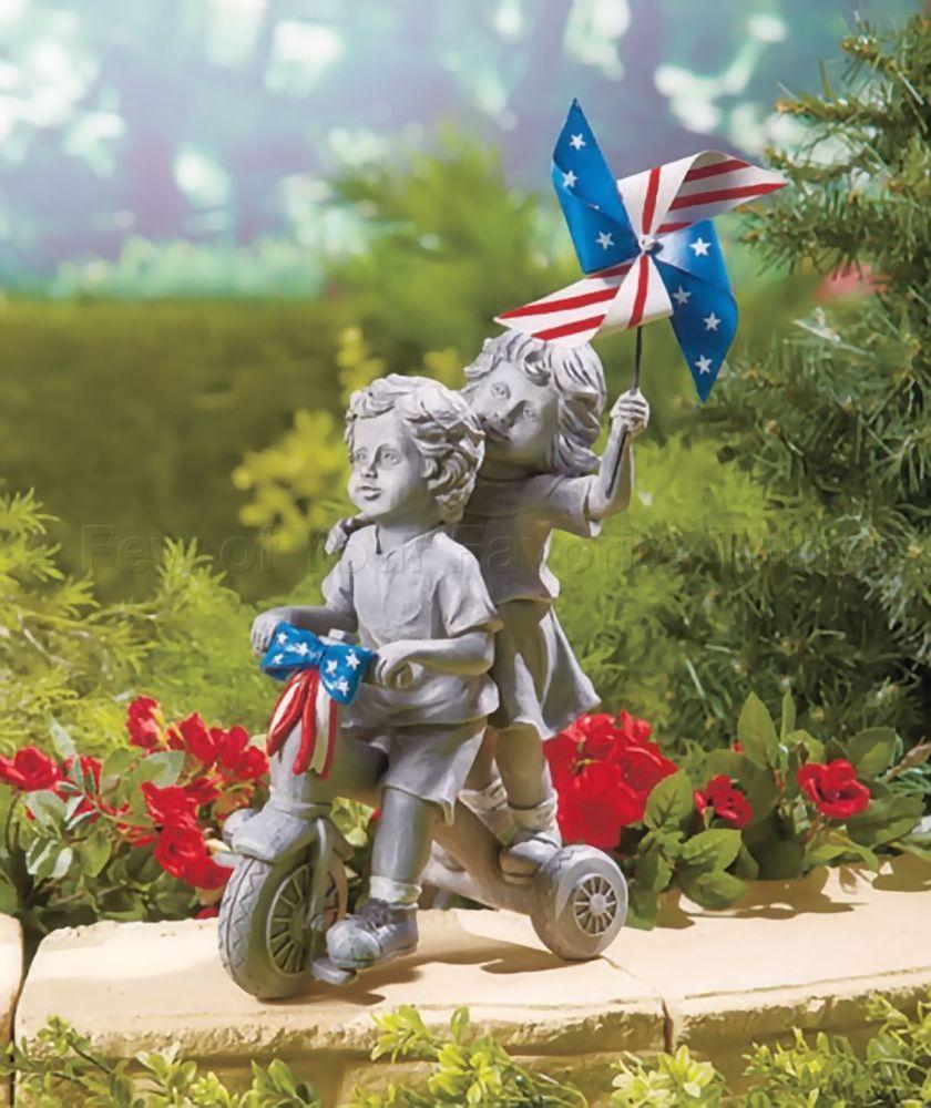 Elegant Patriotic Kids Garden Statues   Kids On Tricycle