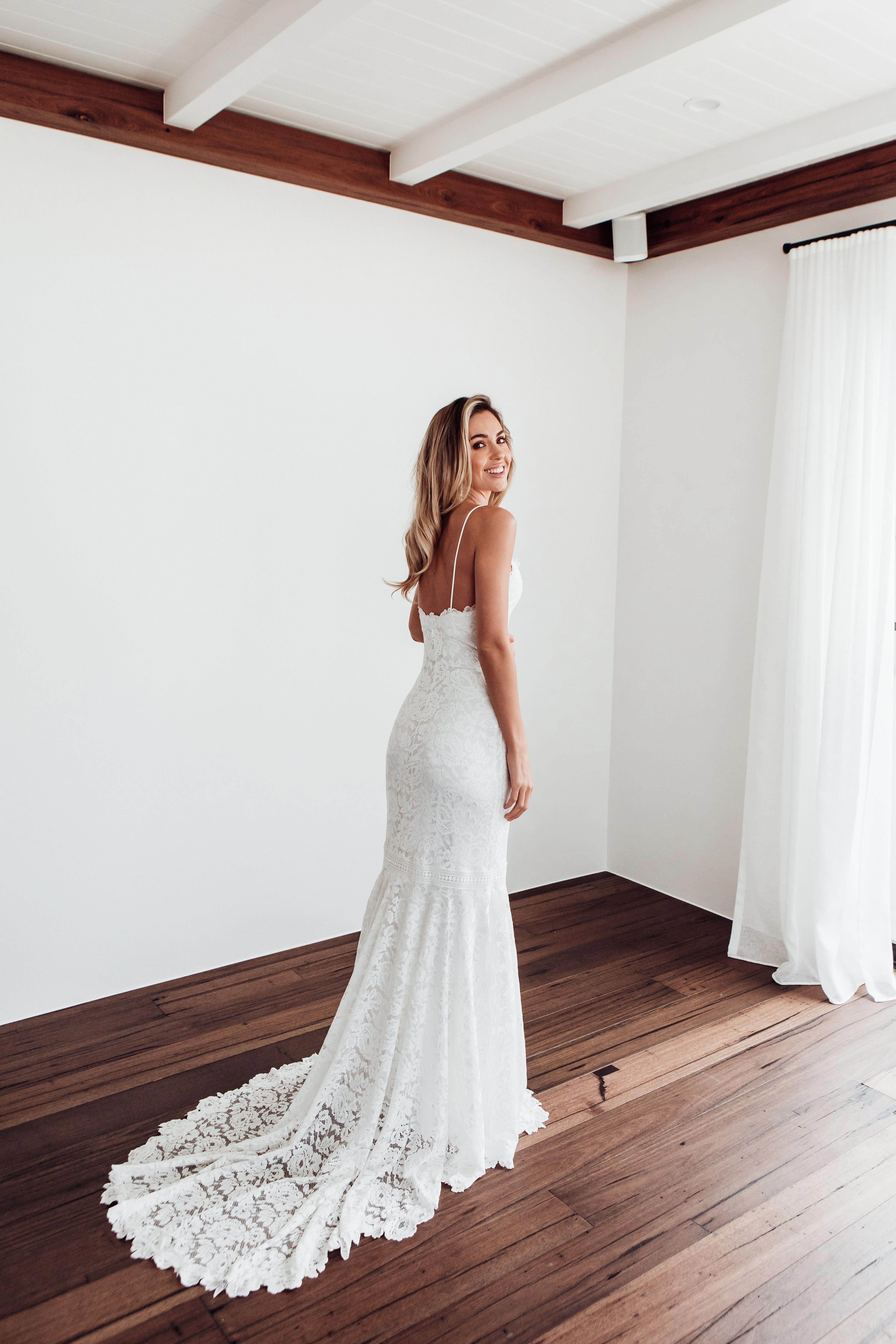 Featuring a classic fitted silhouette, spaghetti straps, and a skirt that falls into a mermaid train, this lace wedding gown is the perfect wedding dress to dance the night away in  laceweddingdress is part of Wedding dresses -