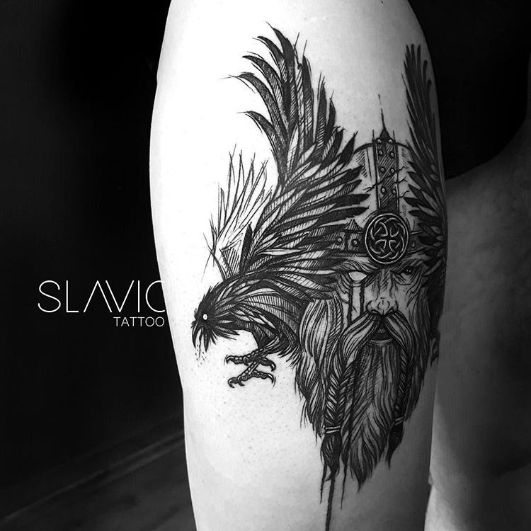 Thank You So Much Jbspeakr Cc Odin And His Ravens Huginn And Muninn Unholytattoo Raventattoo Ravens Raven Tattoo Slavic Tattoo Raven Tattoo Tattoos